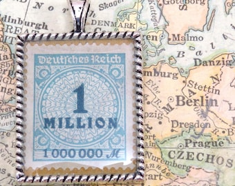 Vintage German One Million Postage Stamp Necklace Pendant Key Ring