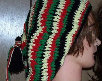 Slouchy Oversize Beret Beanie Hand Crochet Solid Rasta or Rainbow Stripe Beret Rasta Tam Jamaican New Made to Order Custom Oversize