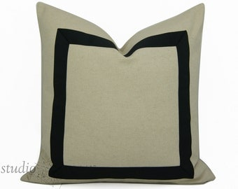 Black Ribbon Pillow Cover - Made to order - Pick Your Size  - ribbon embellishment - black ribbon - linen cotton - made to order