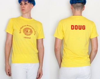 Vintage 80's Pacific Highland Gathering & Games t-shirt, fuzzy letters, Doug, Chino, Scottish, Scotland, 50/50, soft, thin, yellow - Small