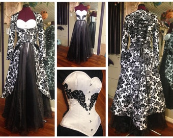 """45% off! One of a kind wedding dress, damask black & white, four pieces, corset, two skirts, coat, hand made, 22"""" corseted waist"""
