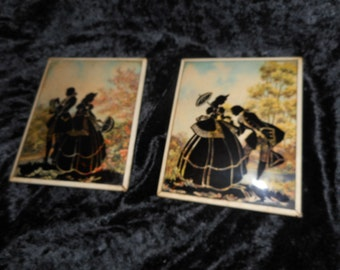 x Pair convex glass framed Victorian prints in ivory metal frames (FF081015-04)