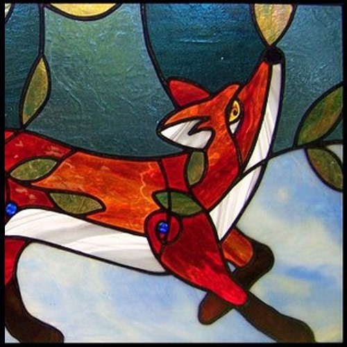 PATTERN For Red Fox In The Blueberry Patch Stained Glass
