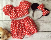 Minnie Mouse Inspired Everyday Dress Up PlaySet, Two Piece Crop Top and bloomers...Made to Order, size 6m-6
