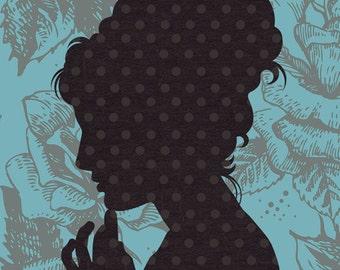 DIGITAL ILLUSTRATION - Ms Priscilla 5x7 inch, vintage inspired silhouette portrait, blue, brown