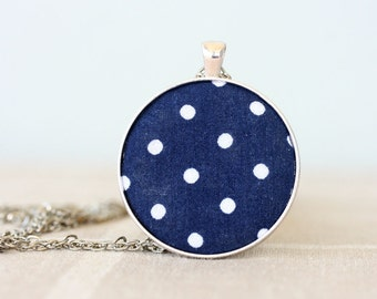 Polka dots necklace navy necklace retro polka dot necklace navy blue jewelry polka dot fabric pendant necklace unique gift idea for women