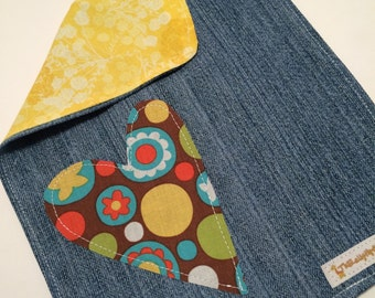 SALE Bright Heart with Yellow and Jean OOAK Bib was 9.00