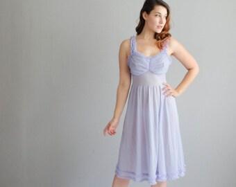 60s Lingerie - Vintage 1960s Nightgown - Lavender Lemonade Nightgown