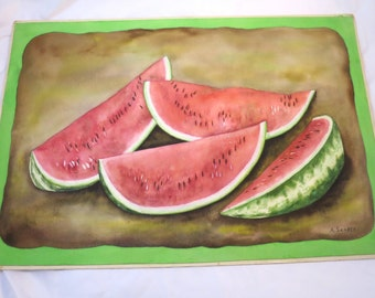 Watermelons Painting Unframed Sliced Summer Fruit Art Work Signed Painting 15 x 13 inches Mounted Green Brown