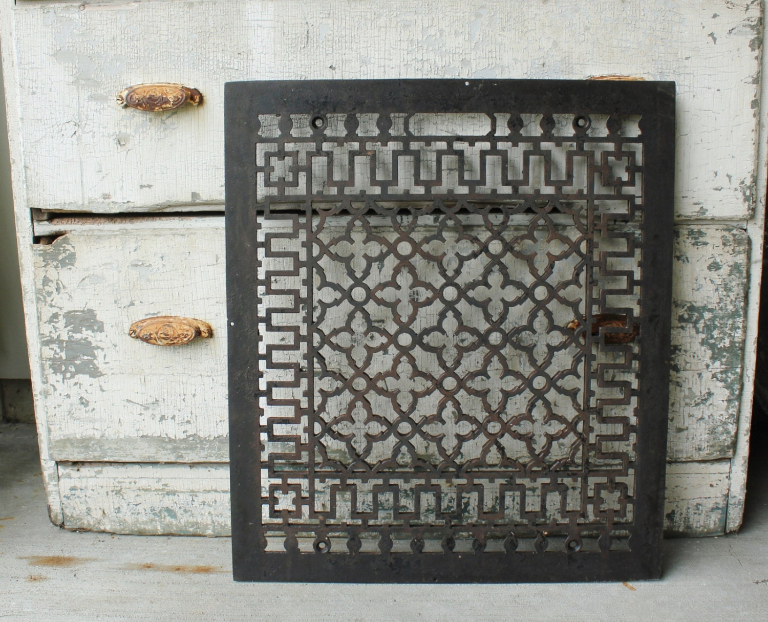 #80684B Large Antique Cast Iron Heat Register Floor Grate Recommended 4867 Large Floor Registers pics with 1500x1215 px on helpvideos.info - Air Conditioners, Air Coolers and more