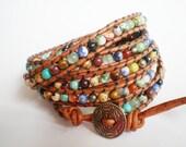 Bohemian Jewelry Rustic Gemstone Bracelet Leather Wrap Leather Cuff no red