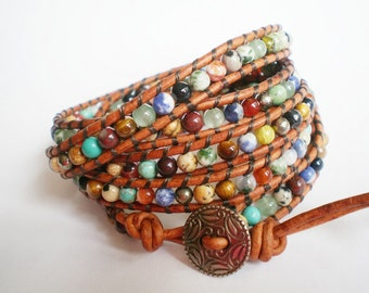 Bohemian Jewelry Rustic Gemstone Bracelet Leather Wrap Leather Cuff no red