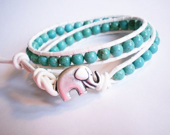 Turquoise and White Leather Wrap Bracelet Elephant Jewelry Double Wrap Cuff