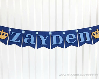 Custom Phrase Banner - Royal Crown : Handcrafted Birthday Party Decoration | Custom Name Sign | Little Prince Party | Customize the Style