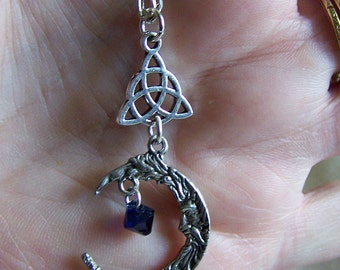 Man in the Moon Celtic Triquetra Knot Pendant