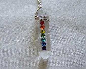 Quartz Crystal Wire Wrapped Rainbow Chakra Pendant