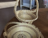Vintage set of Pine Needle baskets