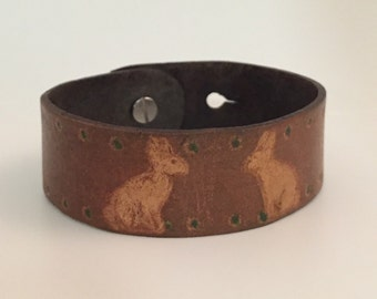 "Bracelet-Leather Bunny Print ""White Rabbit"""