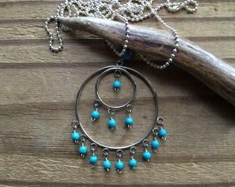Bohemian beaded pendant necklace, beaded boho jewelry