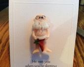 Naked Santa with Hat Pin by Kim Lugar