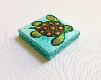turtle art magnet, miniature painting, canvas art magnet for home or office, mini art