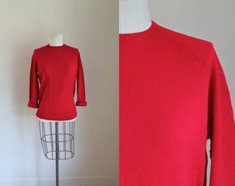 vintage 1960s wool sweater - MAPLE RED crew neck pull over / M/L