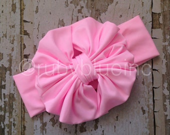Bubblegum Pink Messy Bow Head Wrap - Pool Safe