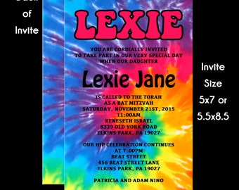 Tie Dye 70's Hippie Theme Bat Mitzvah Invitation USE for ANY Event RSVP Reply Card Insert Card Thank You Note