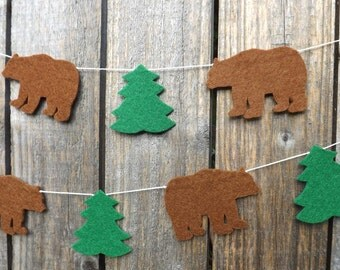 Brown Bear Garland, Cabin Decor, Brown Bear Brown Bear Birthday, Banner, Baby, Bear Bunting, Bear Nursery, Bear baby shower, Bear art, Wild