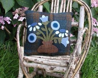 Primitive Blue Flower Wool Pillow Folk Art Pillow