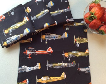 Children's Cloth Napkins - Vintage Airplanes - Set of 4, Reusable Lunch Box Napkins, Reusable Napkins, Boy's Napkins, Classic Airplanes