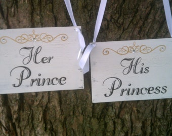 Crystal Tiara, Wedding Signs, His Princess and Her Prince Reception Decoration in Gold or Silver