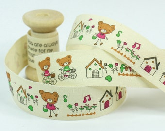 """Cotton Ribbon, Trim, Sewing Tape, Sewing Label, Fabric Label, Cotton Tag, Sew on Label - Bears, Length 1 yard, Width 13/16"""" (CR39)"""