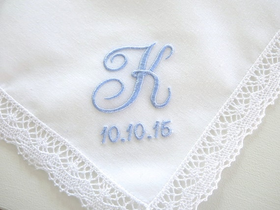 Wedding Handkerchief:  Cluny Lace Handkerchief with 1-Initial and Date