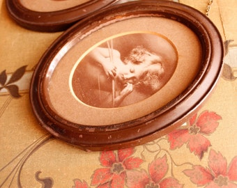 Antique Miniature Cupid Cherubs in Matching Oval Frames, Vintage Matching Metal Frame Cherub Awake and Asleep, Art's & Collectible
