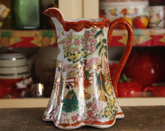 Antique Geisha Chocolate Pot, Pitcher, Asian Design,Collectible China, Made in Japan,Vintage Porcelain Hand Painted Geisha's Scene