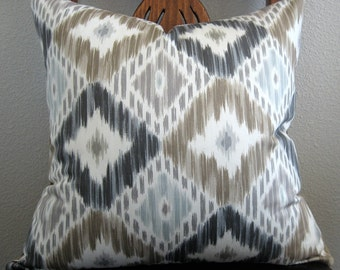 Diamond Ikat gray blue taupe decorative pillow cover