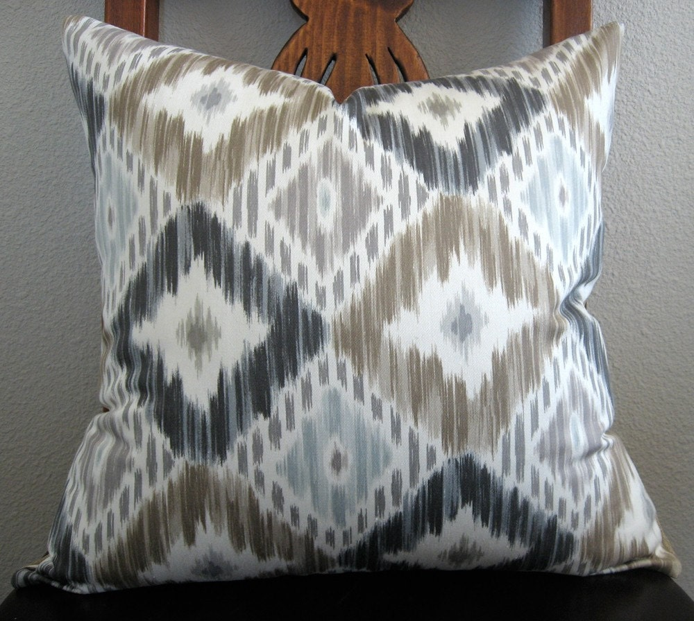 diamond ikat gray blue taupe decorative pillow cover. Black Bedroom Furniture Sets. Home Design Ideas