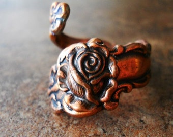 Antiqued Copper Spoon Ring with Rose, Exclusive Design Only by Enchanted Lockets