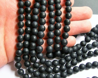 Black Onyx - matte -  8mm faceted round beads -1 full strand - 48 beads - AA quality - RFG395