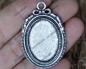 4 pcs Antique silver oval Cabochon Pendant Base (Fit Cabochon 18x25mm), charm oval Pendant base findings,pendant base findings