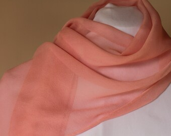 Pink Salmon Peach 100% silk chiffon scarf no fringe plain work office kid teenager