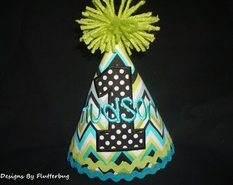 PERSONALIZED BOY'S 1ST Birthday Hat - 2nd Birthday-3rd Birthday-Chevron Print in Teal, Green, Turquoise, Black and White