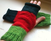 Hand Knit Women's Hand Warmers - Long Fingerless Gloves - Warm and Soft - Christmas Colors - Plus Free Accessories
