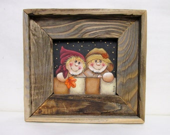 Folk Art Scarecrow Couple, Boy Scarecrow, Girl Scarecrow, Framed in Reclaimed Rustic Barn Wood, Tole Painted on Black Screen, Autumn or Fall