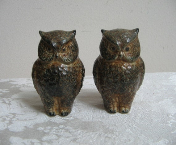 Vintage owls salt pepper shakers set ceramic stoneware brown tan