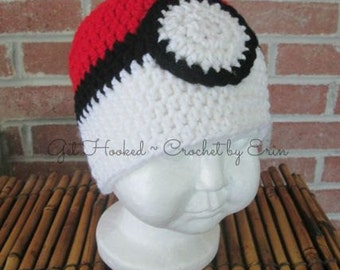 Pokemon Poke'ball Hat/ beanie/ ALL SIZES/  ships everywhere/sizes in description