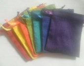 "Dupioni Silk 100 bags in Rainbow colors drawstring Pouch 3"" X 4"" jewelry supplies, stamping jewelry bath salts herbs handmade soap"