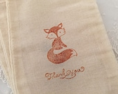 Fox Favor Bags Baby Shower Thank You Muslin Bags Baby Shower Set of 10