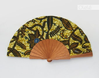 African Wax Print hand fan with case - Nana - Leaves on olive green - african wedding favor Mother's Day gift
